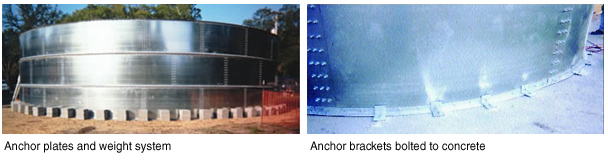 free standing or anchored bolted steel round tanks